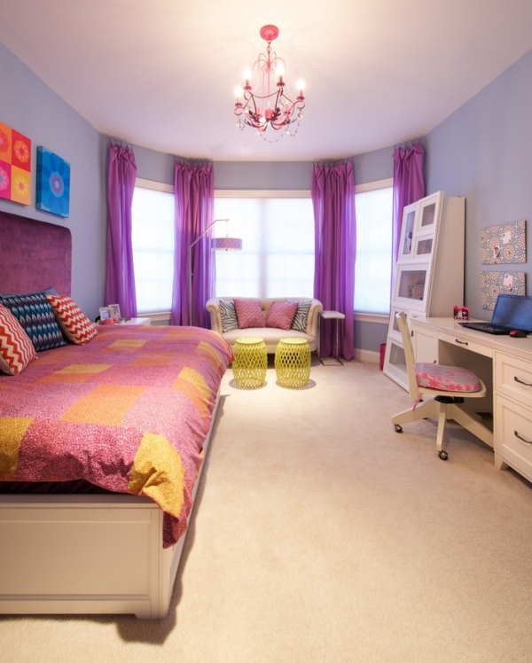 Trendy Teen Girls Bedding Ideas With A Contemporary Vibe: A Colorful Bedroom For Your Sassy Teenager