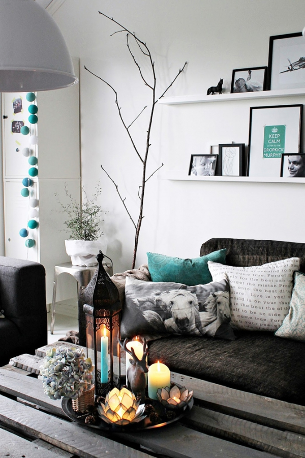 turquoise black and white living room - home design