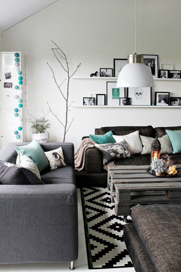 turquoise living room. turquoise blue and grey living room design