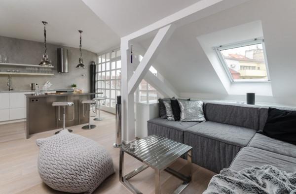 Attic apartment design ideas in Prague (2)