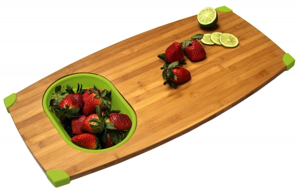 Gentil Bamboo Over Sink Cutting Board And Colander