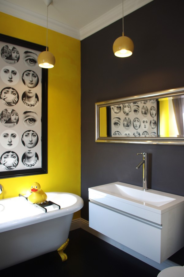 Beautiful yellow bathroom designs for Yellow and black bathroom ideas