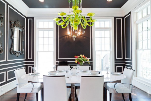 Black shade living and dining rooms
