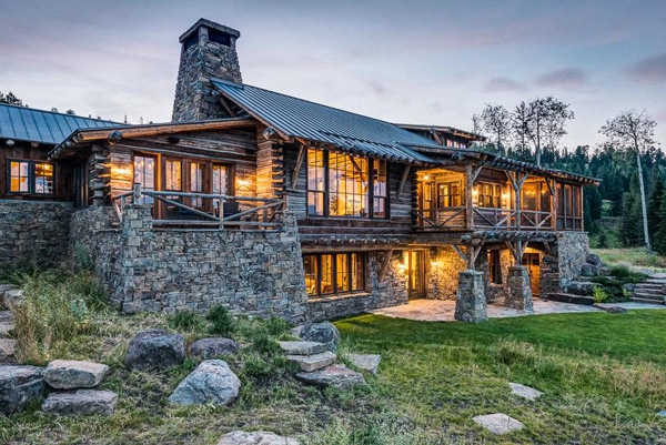 Charming rustic house tucked away in montana adorable home - Wood and stone house plans a charming symbiosis ...