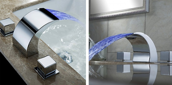 Cool Bathroom Sink Faucets Cool Square Shaped Long Waterfall