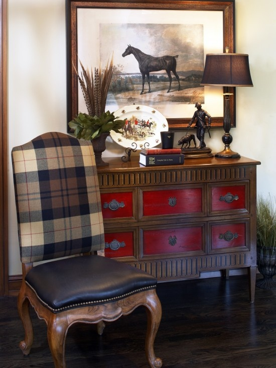Antique Home Library: Decorating With Plaid Pattern