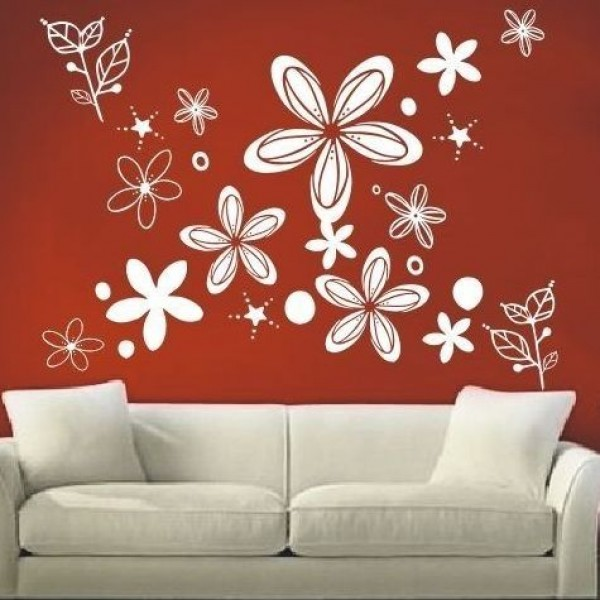 Flower & Floral wall stickers - white little flowers