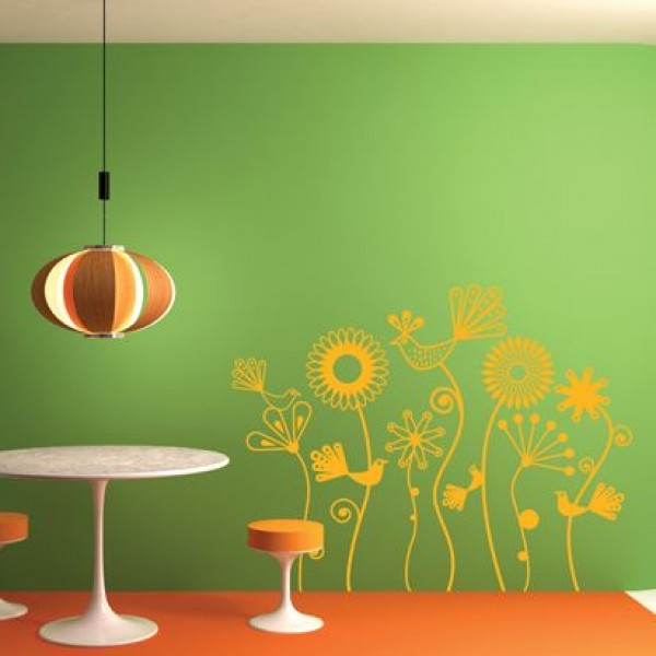 Flower & Floral wall stickers - abstract flowers in orange