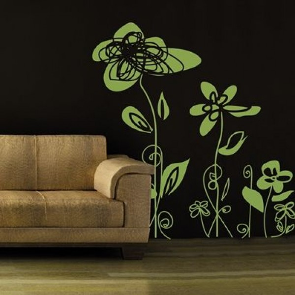 Flower & Floral wall stickers - painted roses in green