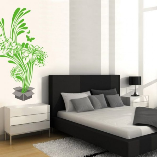 Flower & Floral wall stickers - green flowers and leaves