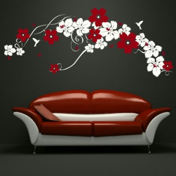 Flower & Floral wall stickers - in red