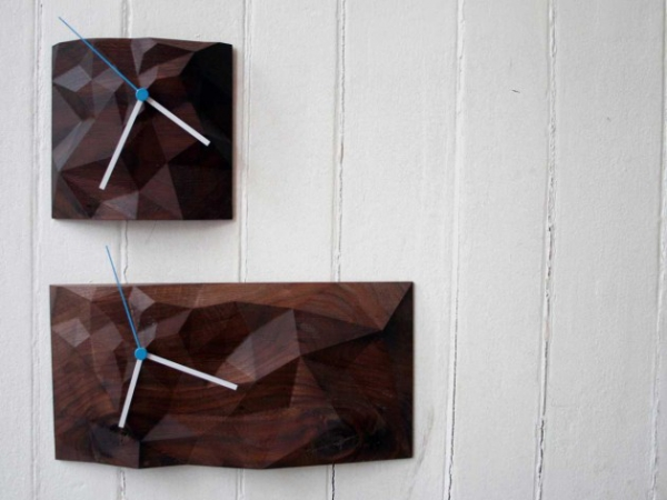 Elegant wooden wall clock the block clock (1)