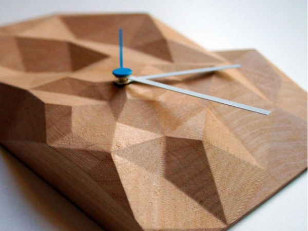 Elegant wooden wall clock the block clock (4)