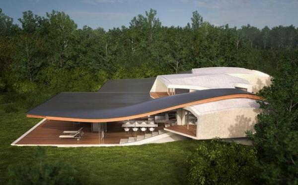 Futuristic house architecture House Birkensee  (1)