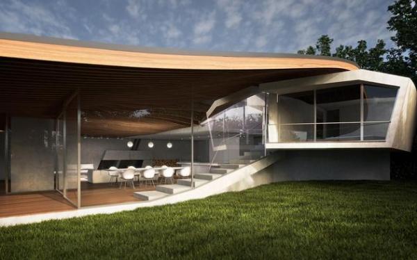 Futuristic house architecture House Birkensee  (3)