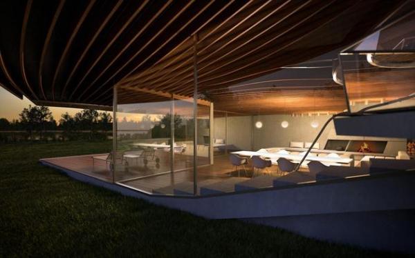Futuristic house architecture House Birkensee  (9)