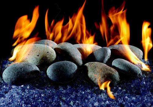 Gas Burning River Rocks Adorable Home