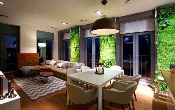 Green walls and grand designs in apartment decor adorable home