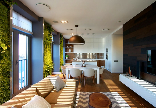 Green walls and grand designs in apartment decor (4)