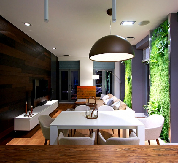 Green walls and grand designs in apartment decor (5)