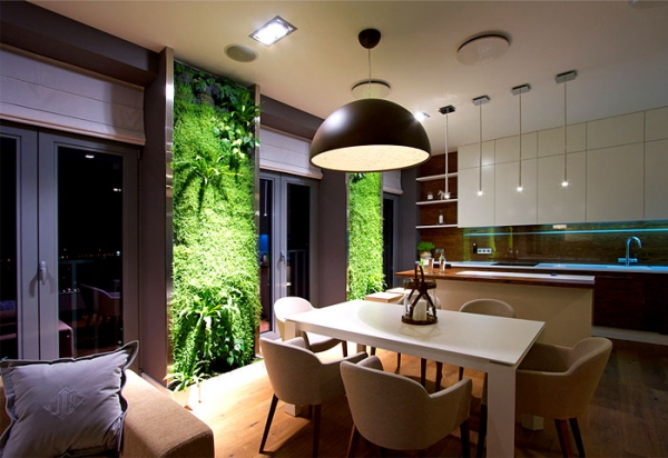 Green walls and grand designs in apartment decor (6)