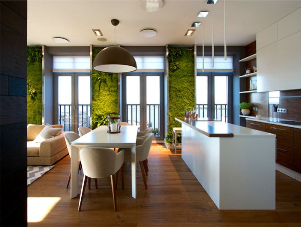 Green walls and grand designs in apartment decor (7)