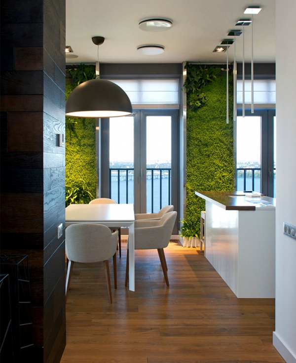 Green walls and grand designs in apartment decor (9)