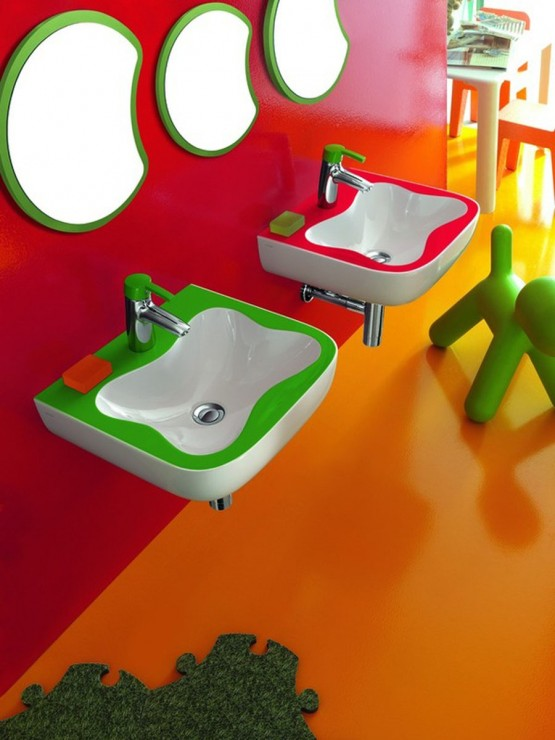 outstanding kids bathroom color | Happy colors in the kid's bathroom – Adorable Home