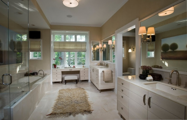 Black windows for homes - Neutral Calming Colors Fill This Spacious Bathroom Creating A Serene