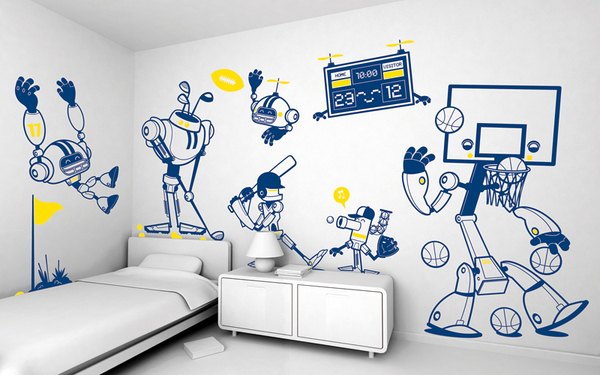 Wall E Room Decor : Kids room wall decoration funny stickers adorable