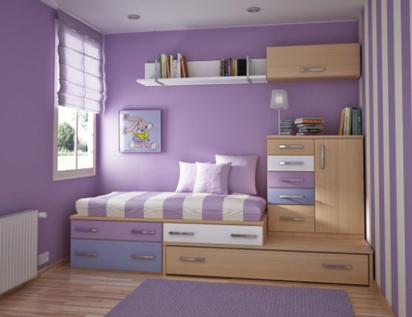 Beautiful design idea for teen girl\'s room in purple