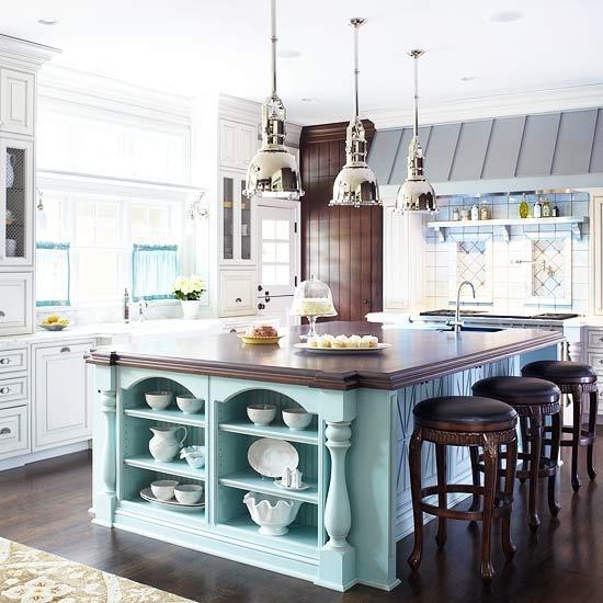 Blue Cottage Kitchen Cabinets: Kitchen Island Color Ideas