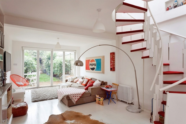 Lovely Red And White In This London House Adorable Home