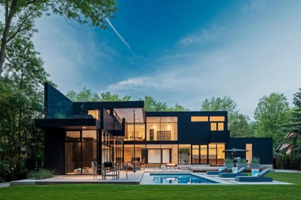 modern glass house in ontario adorable home. Black Bedroom Furniture Sets. Home Design Ideas