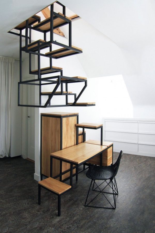 Object eleve industrial explorations in staircase storage