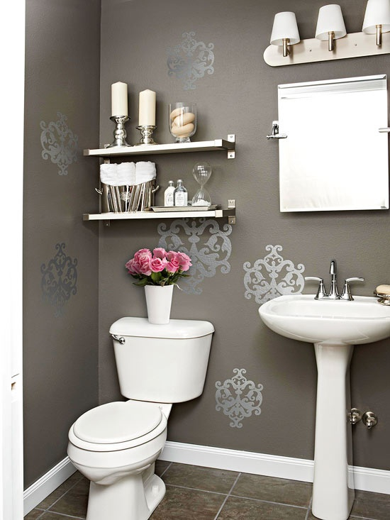 Quick and pretty toilet decor for your sweet home adorable home - Decoration toilette gris ...