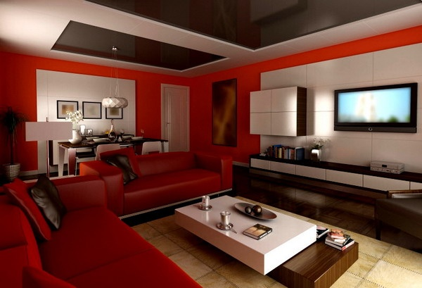 Red Living Room Design Ideas 1