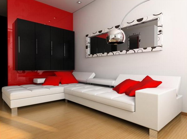 Red living room design ideas adorable home for Red white and black living room designs