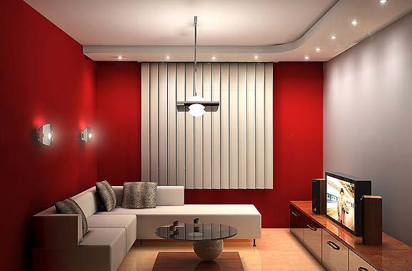 Red Living Room Interior Design Ideas