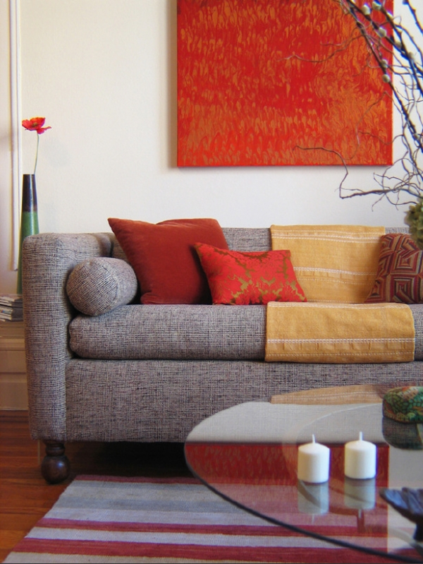 Red living room design ideas adorable home Orange and red living room design