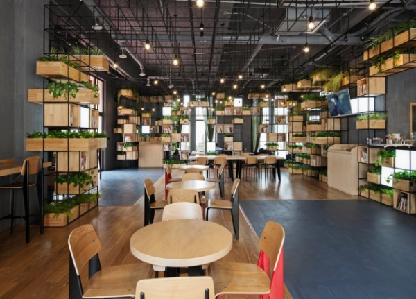 Cafe Design Ideas stylish cafe with outdoor tables Cafe Design Ideas Casual Cafe Design With Interesting Modern Pendants Repurposed Caf Design In Beijing 2