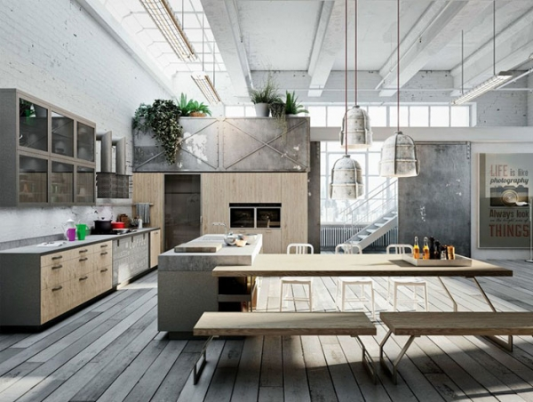 Large industrial style kitchen for Cottage plans with loft and big kitchen