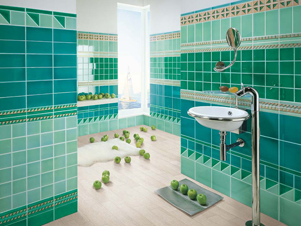 This tile is placed only on the wall. The greens and geometric shapes ...