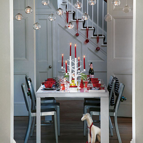 Dining Room Set Table Chairs Unusual Candelabra Bauble Decorations L