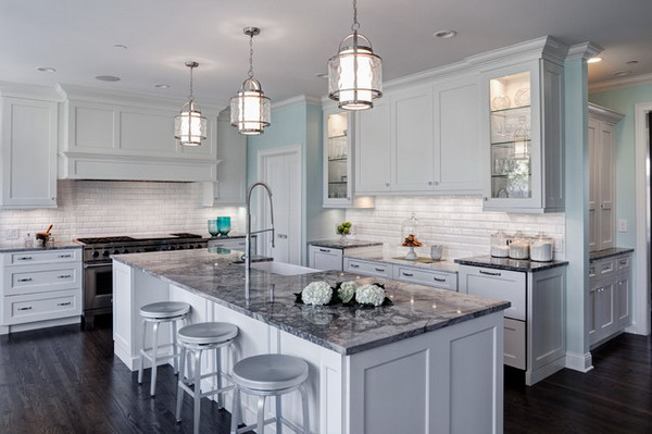 Traditional kitchen design ideas adorable home - Light blue and white kitchen ...