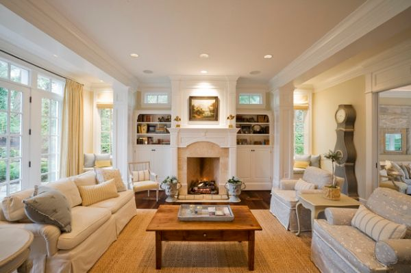 Traditional living room Home decorating ideas living room with fireplace