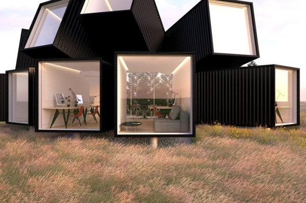 Unique office design in the black forest adorable home - Storage containers small spaces plan ...