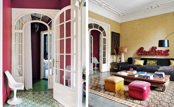 Unique Decor, Bold Colors, And Floor Patterns In Barcelona