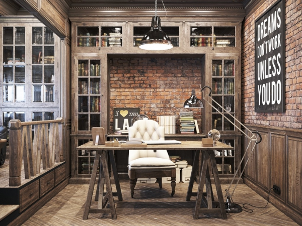 private office design. Vintage Office Design In Private Residence E