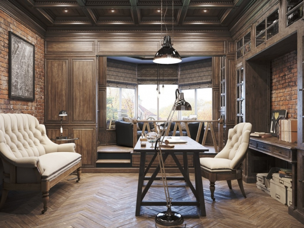 Awesome Vintage Office Design In Private Residence Adorable Home Largest Home Design Picture Inspirations Pitcheantrous